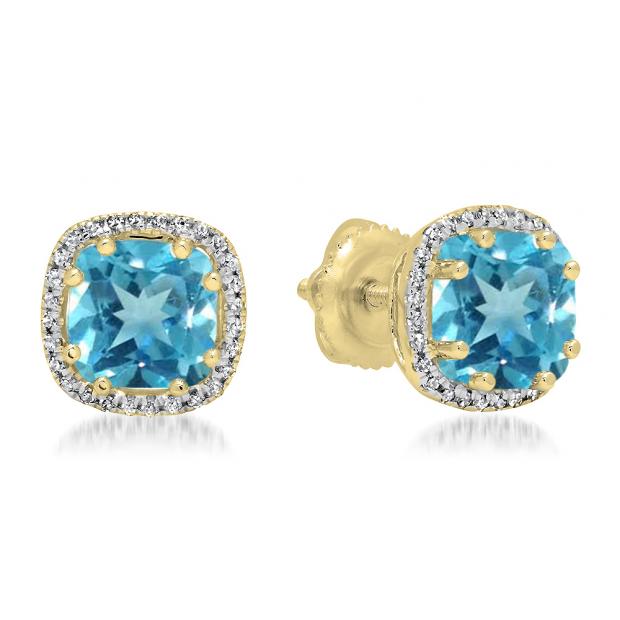 2.40 Carat (ctw) 18K Yellow Gold Cushion Cut Blue Topaz & Round Cut White Diamond Ladies Halo Style Stud Earrings