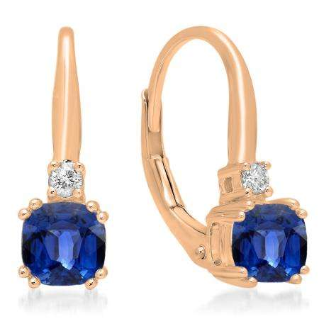 1.05 Carat (ctw) 10K Rose Gold Cushion Cut Blue Sapphire & Round Cut White Diamond Ladies Dangling Drop Earrings 1 CT