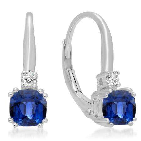 1.05 Carat (ctw) 10K White Gold Cushion Cut Blue Sapphire & Round Cut White Diamond Ladies Dangling Drop Earrings 1 CT