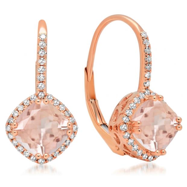 2.20 Carat (ctw) 10K Rose Gold Cushion Cut Morganite & Round Cut White Diamond Ladies Halo Style Hoop Earrings