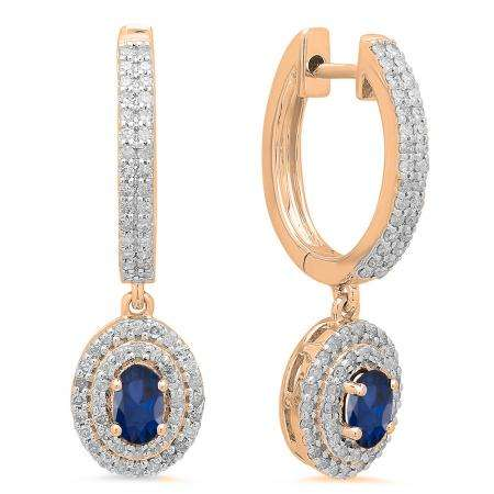 1.10 Carat (ctw) 14K Rose Gold Oval Cut Blue Sapphire & Round Diamond Ladies Halo Style Dangling Drop Earrings 1 1/10 CT