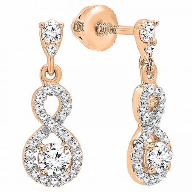 0.40 Carat (ctw) 10K Rose Gold Round Cut White Diamond Ladies Infinity Swirl Dangling Drop Earrings