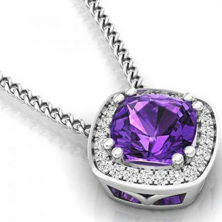 0.95 Carat (ctw) 18K White Gold Cushion Cut Amethyst And Round Cut White Diamond Ladies Halo Style Pendant 1 CT