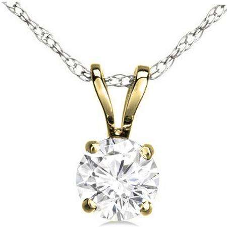 372a0dd976724 IGI CERTIFIED 1.01 Carat (ctw) 18K Yellow Gold Round Cut Lab Grown White  Diamond Ladies Solitaire Pendant