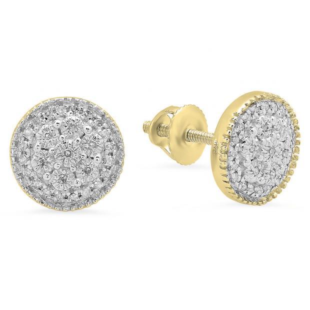 0.15 Carat (ctw) 10K Yellow Gold Round Cut White Diamond Ladies Circle Shape Cluster Fashion Stud Earrings