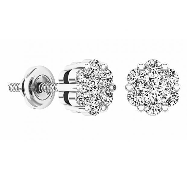 0.48 Carat (ctw) 10K White Gold Round White Diamond Ladies Flower Cluster Earrings 1/2 CT