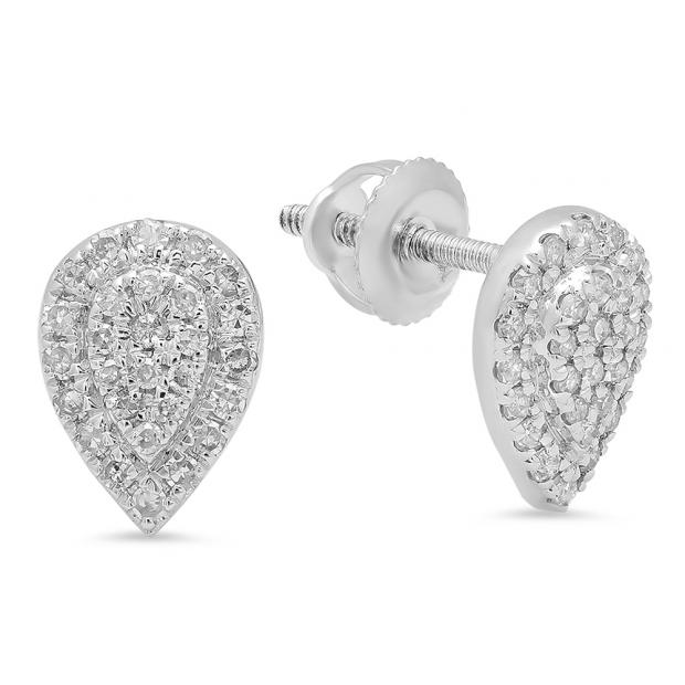 0.25 Carat (ctw) 10K White Gold Round White Diamond Ladies Teardrop Cluster Stud Earrings 1/4 CT