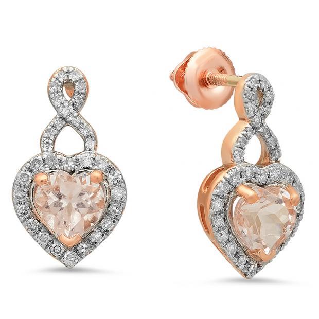 1.30 Carat (ctw) 10K Rose Gold Heart Cut Morganite & Round Cut White Diamond Ladies Infinity Swirl Dangling Drop Earrings