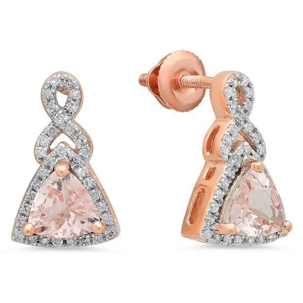 1.00 Carat (ctw) 10K Rose Gold Trilliant Cut Morganite & Round Cut White Diamond Ladies Infinity Swirl Dangling Drop Earrings 1 CT
