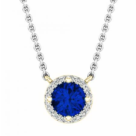 0.90 Carat (ctw) 18K Yellow Gold Round Cut Blue Sapphire And White Diamond Ladies Halo Style Pendant (Silver Chain Included)
