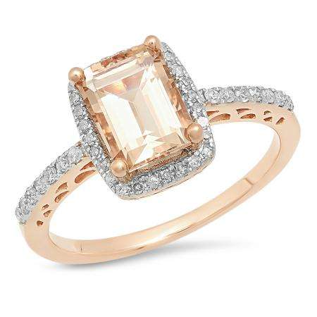 1.95 Carat (ctw) 14K Rose Gold Emerald Cut Morganite & Round Cut White Diamond Ladies Bridal Halo Style Engagement Ring