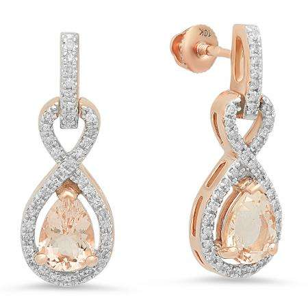 1.80 Carat (ctw) 14K Rose Gold Pear Cut Morganite & Round Cut White Diamond Ladies Infinity Swirl Dangling Drop Earrings