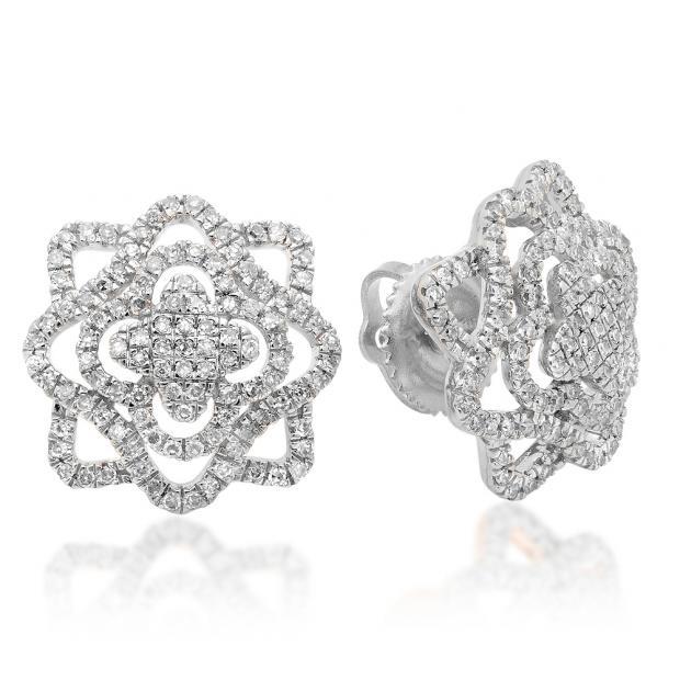 0.40 Carat (ctw) 14K White Gold Round Cut White Diamond Ladies Cluster Flower Micro Pave Stud Earrings