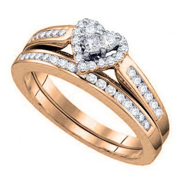 0.48 Carat (ctw) 18K Rose Gold Round Cut White Diamond Ladies Heart Shaped Bridal Engagement Ring With Matching Band Set 1/2 CT