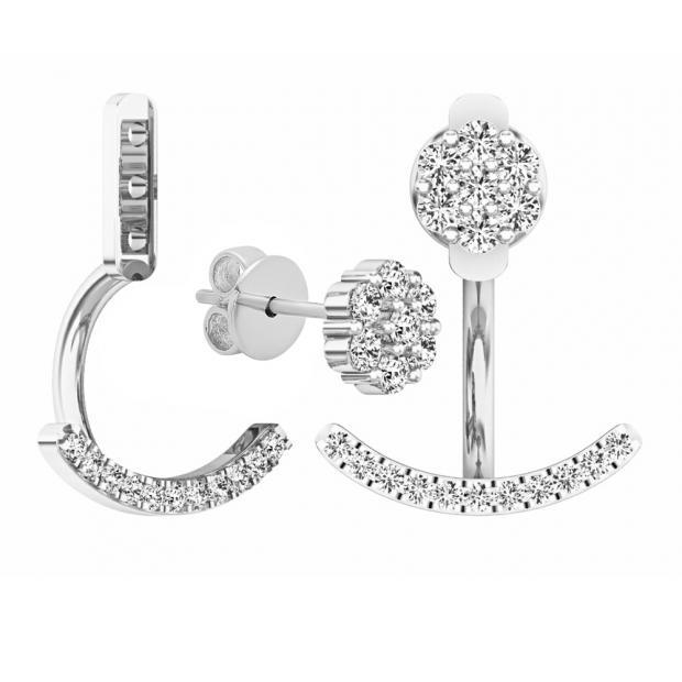 773e0aedcac1b 0.25 Carat (ctw) Sterling Silver Round Cut White Diamond Pendulum Stud  Earring Jackets 1/4 CT - Dazzling Rock