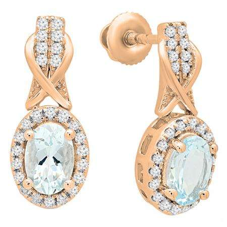1.05 Carat (ctw) 10K Rose Gold Oval Cut Aquamarine & Round White Diamond Ladies Halo Style Dangling Drop Earrings 1 CT