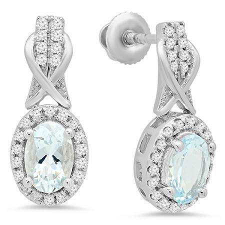1.05 Carat (ctw) 14K White Gold Oval Cut Aquamarine & Round White Diamond Ladies Halo Style Dangling Drop Earrings 1 CT