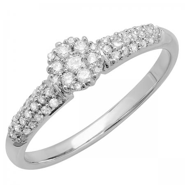 0.32 Carat (ctw) 18K White Gold Round Diamond Ladies Bridal Cluster Promise Engagement Ring 1/3 CT