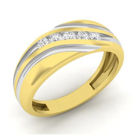 0.22 Carat (ctw) 14K Yellow Gold Round Cut Diamond Men