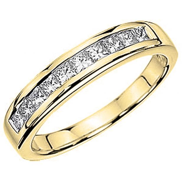 1.00 Carat (ctw) 14K Yellow Gold Princess Diamond Ladies Anniversary Wedding Stackable Ring Band 1 CT