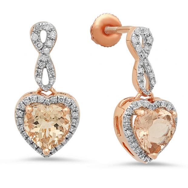 1.90 Carat (ctw) 14K Rose Gold Heart Cut Morganite & Round Cut White Diamond Ladies Infinity Swirl Dangling Drop Earrings