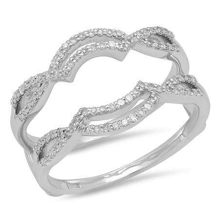 0.35 Carat (ctw) 14K White Gold Round Diamond Ladies Anniversary Wedding Band Enhancer Guard Double Ring 1/3 CT