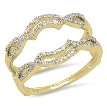 0.35 Carat (ctw) 14K Yellow Gold Round Diamond Ladies Anniversary Wedding Band Enhancer Guard Double Ring 1/3 CT