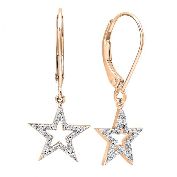 0.15 Carat (ctw) 18K Rose Gold Round Cut White Diamond Ladies Star Shape Fashion Dangling Earrings