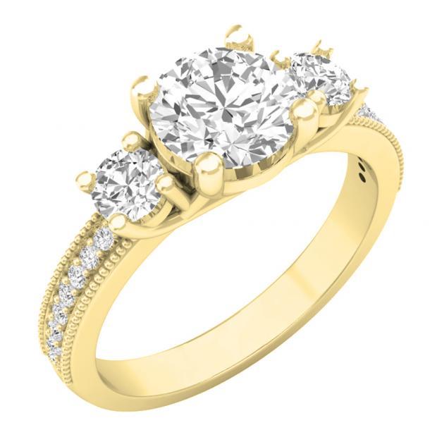 3.15 Carat (ctw) 14K Yellow Gold Round Cut White Cubic Zirconia Ladies Bridal 3 Stone Engagement Ring