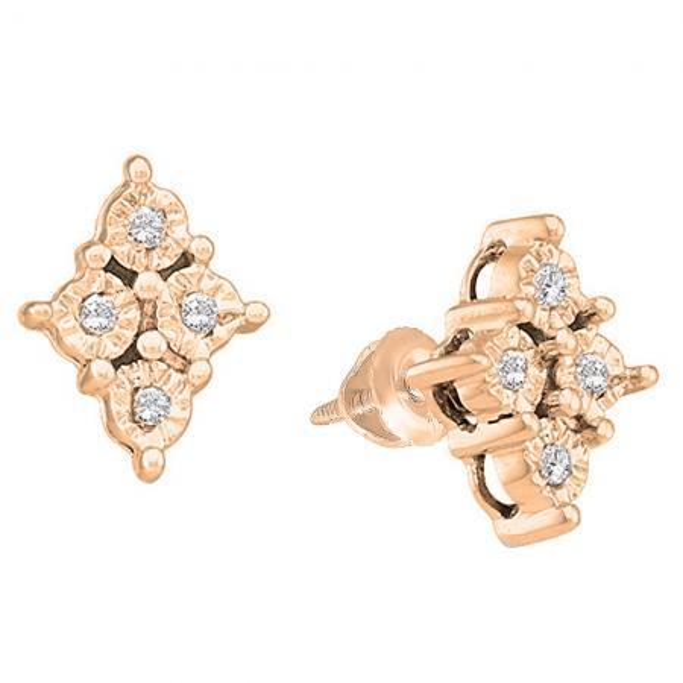 f88cab933 0.08 Carat (ctw) 18K Rose Gold Round White Diamond Ladies Marquise Shaped  Stud Earrings