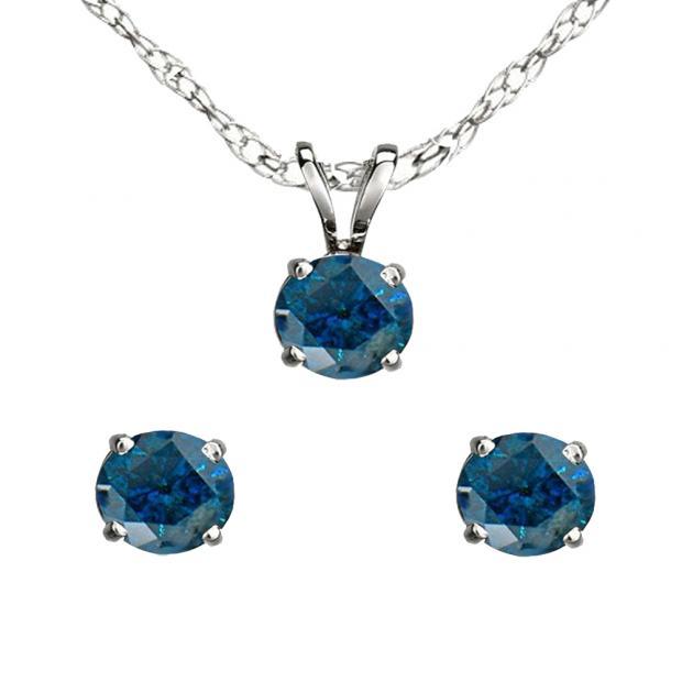 0.50 Carat (ctw) 14K White Gold Round Blue Diamond Ladies Stud Earring & Pendant Set 1/2 CT