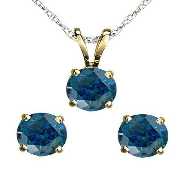 1.50 Carat (ctw) 14K Yellow Gold Round Blue Diamond Ladies Stud Earring & Pendant Set 1 1/2 CT