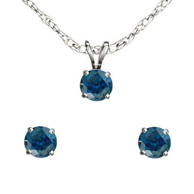 0.25 Carat (ctw) Sterling Silver Round Blue Diamond Ladies Stud Earring & Pendant Set 1/4 CT