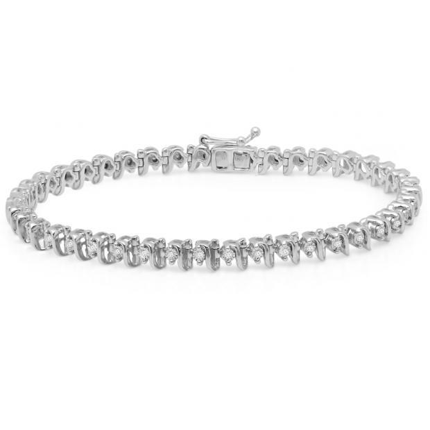 0.35 Carat (ctw) Sterling Silver Round Cut White Diamond Ladies Tennis Bracelet 1/3 CT