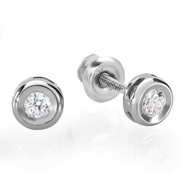 0.25 Carat (ctw) 10K White Gold Round Cut Diamond Bezel Stud Earrings 1/4 CT