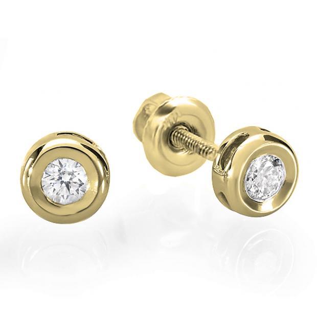 0.25 Carat (ctw) 10K Yellow Gold Round Cut Diamond Bezel Stud Earrings 1/4 CT