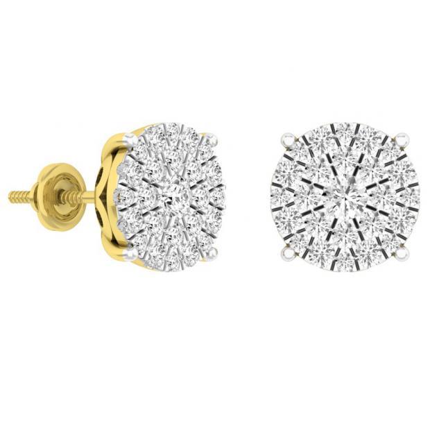 1.55 Carat (ctw) 18K Yellow Gold Round Diamond Ladies Fashion Cluster Style Stud Earrings 1 1/2 CT
