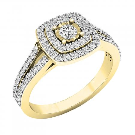 0.60 Carat (ctw) 10K Yellow Gold Round White Diamond Ladies Split Shank Engagement Halo Bridal Ring
