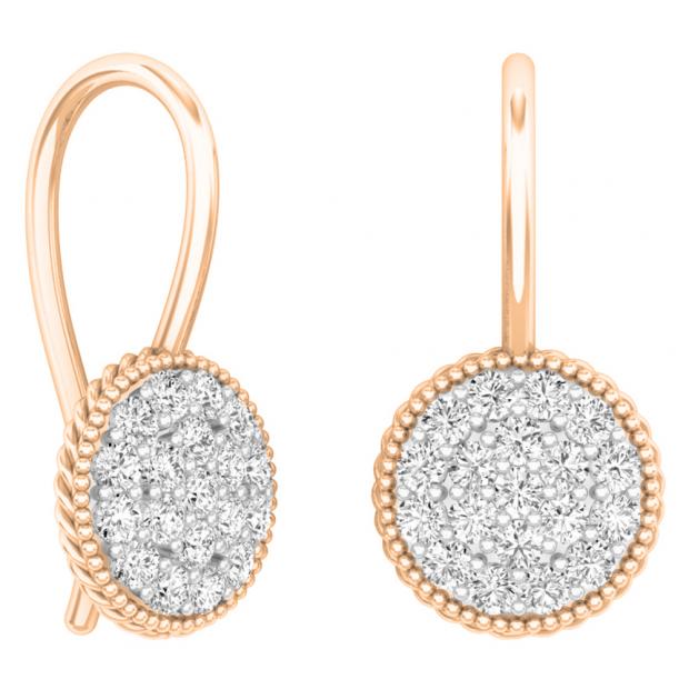 0.65 Carat (ctw) 18K Rose Gold Round White Diamond Ladies Cluster Style Dangling Drop Earrings