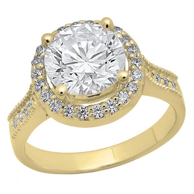 4.10 Carat (ctw) 10K Yellow Gold Round White Cubic Zirconia Ladies Bridal Engagement Ring