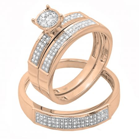 0.30 Carat (ctw) 14K Rose Gold Round Diamond Men & Women
