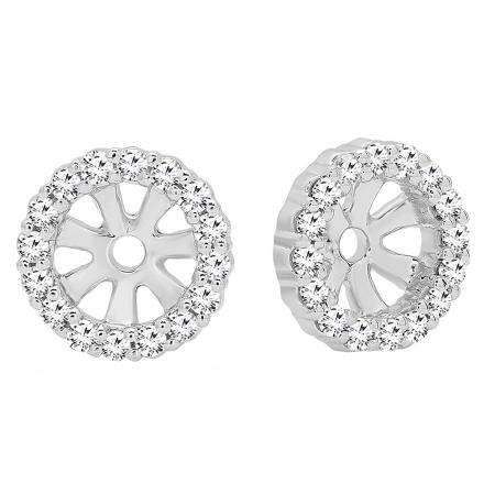 0.16 Carat (ctw) 10K White Gold Round Diamond Ladies Halo Stud Removable Jackets ONLY