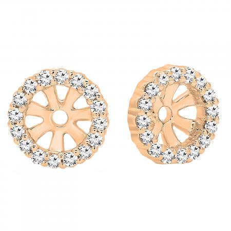 0.16 Carat (ctw) 18K Rose Gold Round Diamond Ladies Halo Stud Removable Jackets ONLY