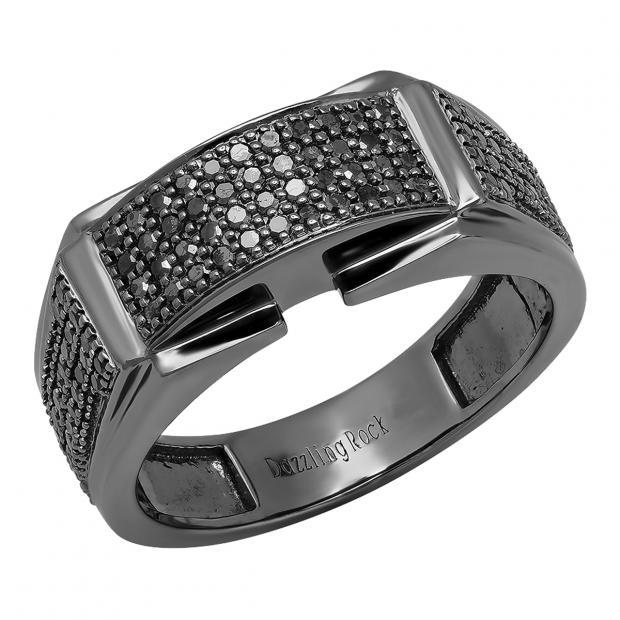 0.60 Carat (ctw) Black Rhodium Plated 18K White Gold Round Black Diamond Men