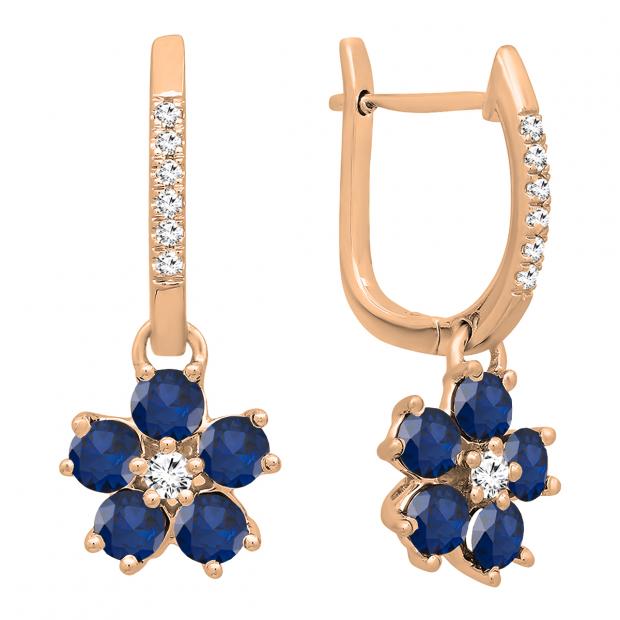 14K Rose Gold Round Blue Sapphire & Diamond Ladies Cluster Flower Dangling Drop Earrings