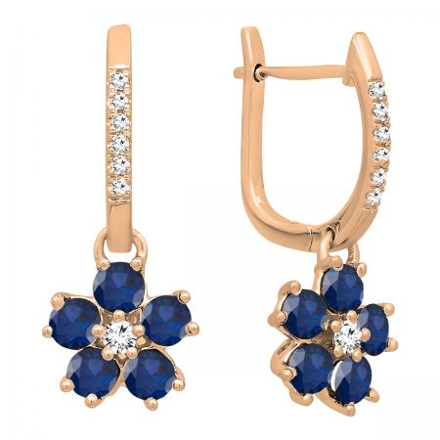 18K Rose Gold Round Blue Sapphire & Diamond Ladies Cluster Flower Dangling Drop Earrings