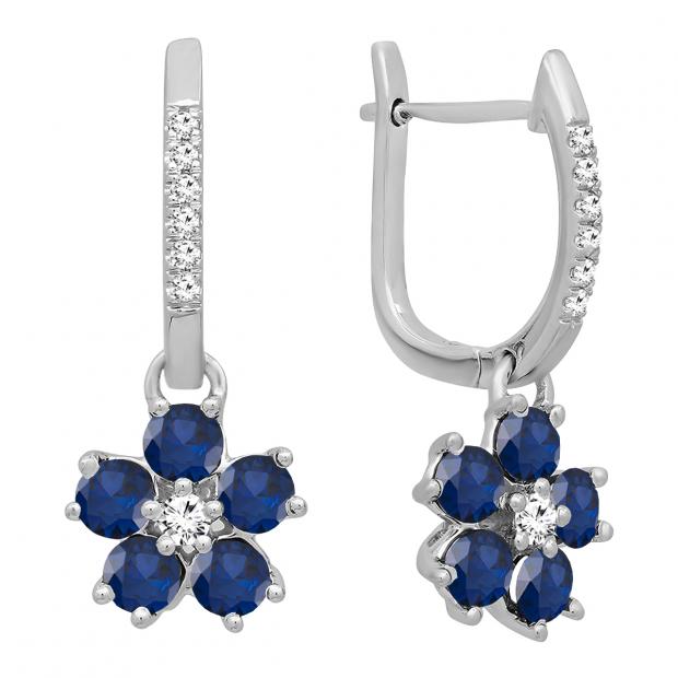 18K White Gold Round Blue Sapphire & Diamond Ladies Cluster Flower Dangling Drop Earrings