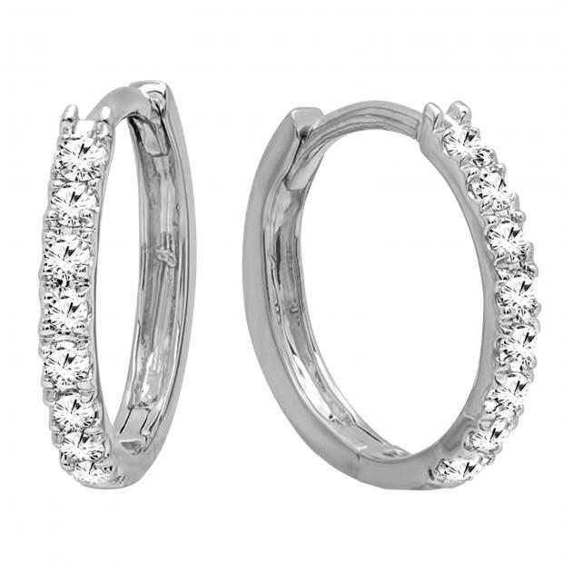 0.20 Carat (ctw) 18K White Gold Round Cut White Diamond Ladies Huggies Hoop Earrings 1/5 CT