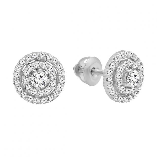 0.41 Carat (ctw) 14K White Gold Round Cut White Diamond Ladies Halo Style Stud Earrings