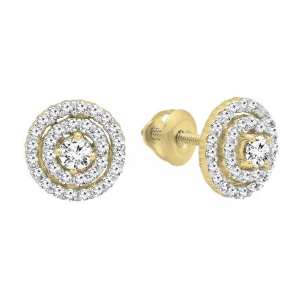 0.41 Carat (ctw) 14K Yellow Gold Round Cut White Diamond Ladies Halo Style Stud Earrings